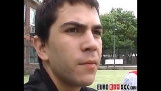 European gay jocks ass fucking after game of  football
