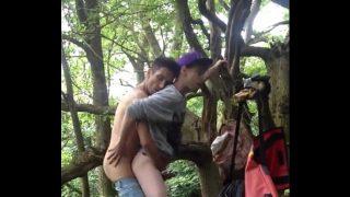 horny teen gay couple having hardcore outdoor sex